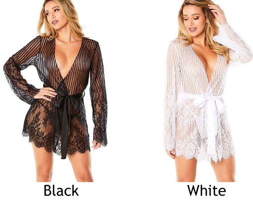 Sexy Eyelash Lace Long Sleeves Flower Nightdress Women Intimate Lingerie