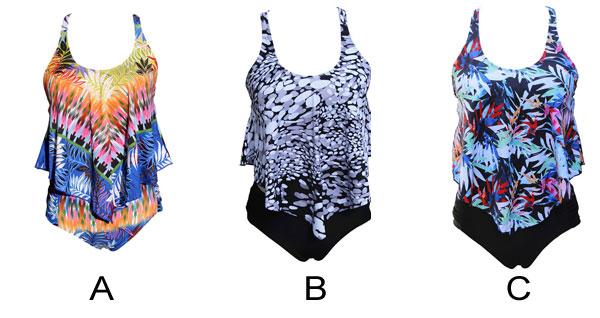Sexy High Waist Sling Women Summer Bikinis Irregular Pattern Leaves Swimsuit
