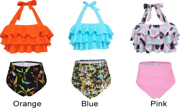 New Ruffle High Waist Swimsuit Flower Sling Women Summer Bikinis