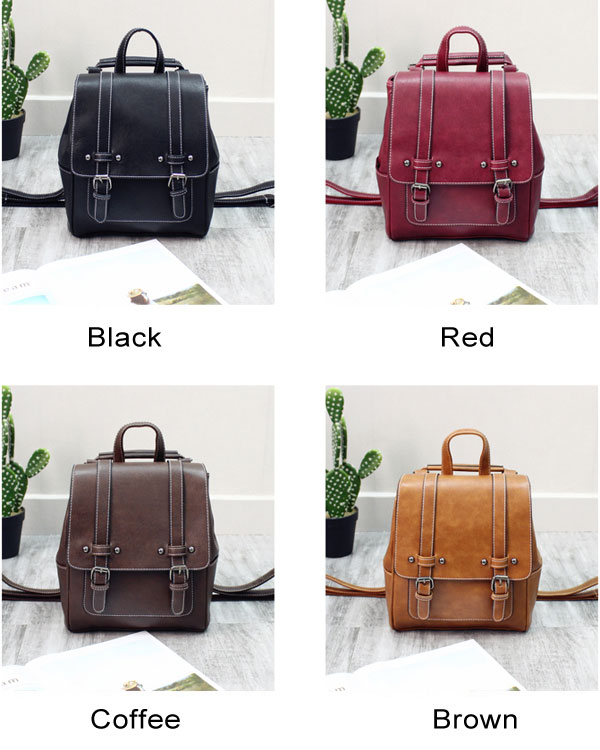 Retro British Style Rivet Soft PU Double Buckle College Backpack
