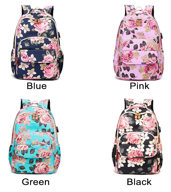 Fresh Flower USB Large Capacity Laptop Bag Student Backpack Rose School Bag