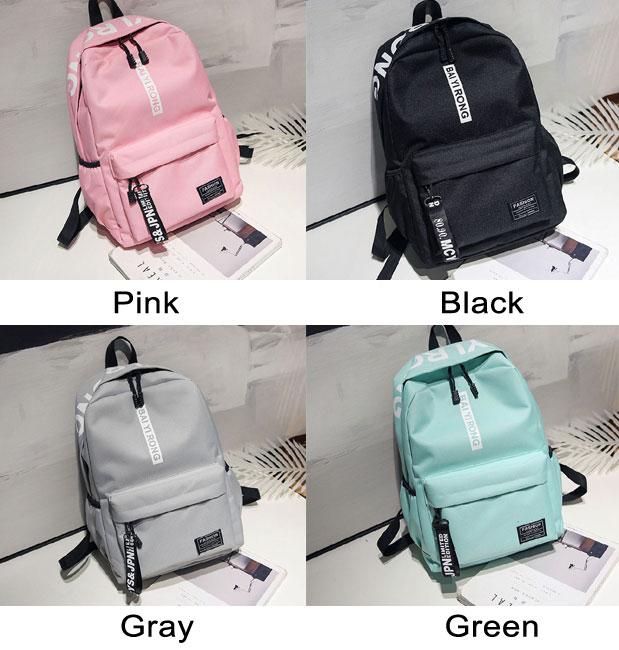 Fresh Junior High School Student Bag Large Pure Color College Backpack