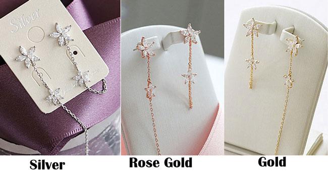 Fashion 925 Sterling Silver Flower Threader Tassel Chain Earring Studs