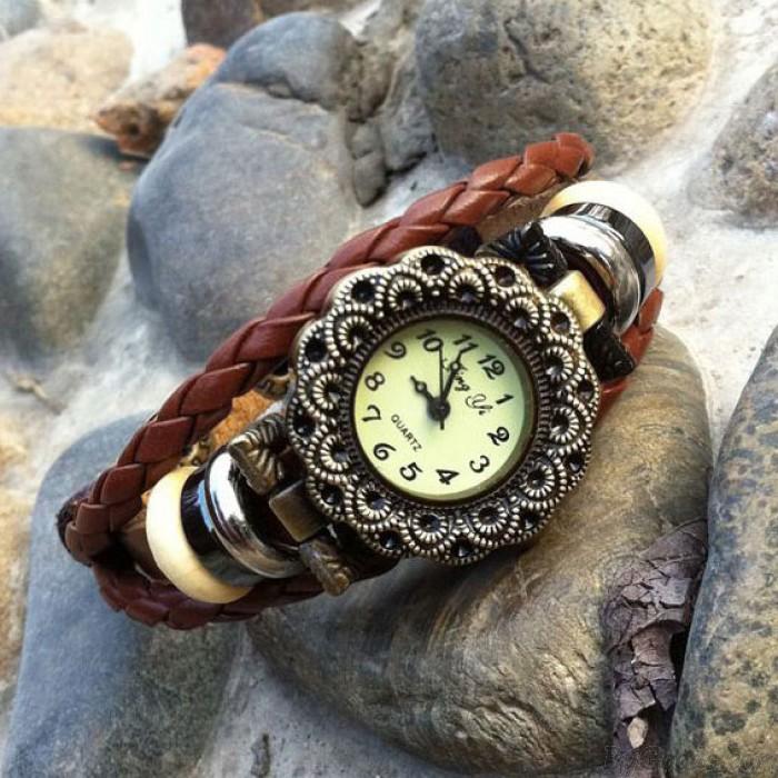 Fashion Flower Bead Leather Bracelet Watch
