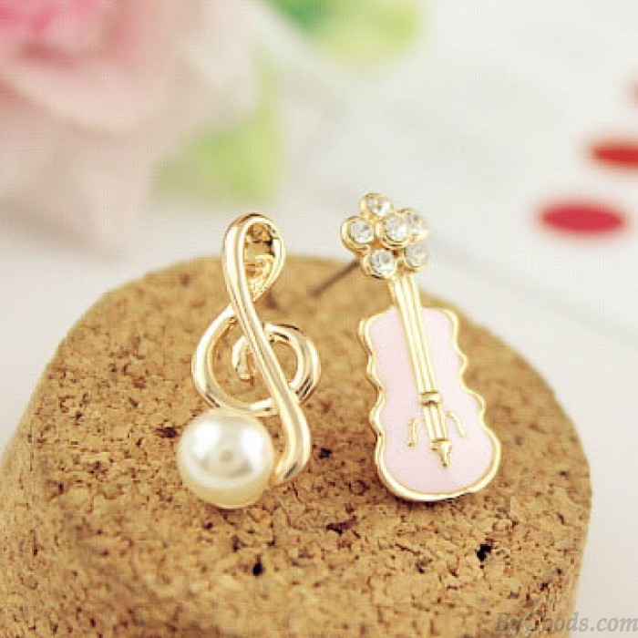 Sweet Music Note Pearl Guitar Cute Diamond Asymmetrical Earrings