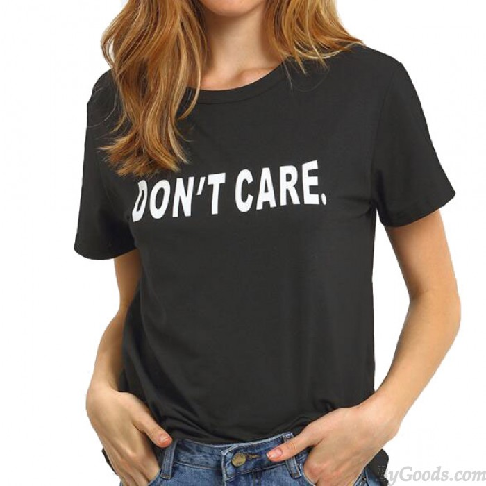 Creative Letters Printing Don't Care Short-sleeved T-shirt