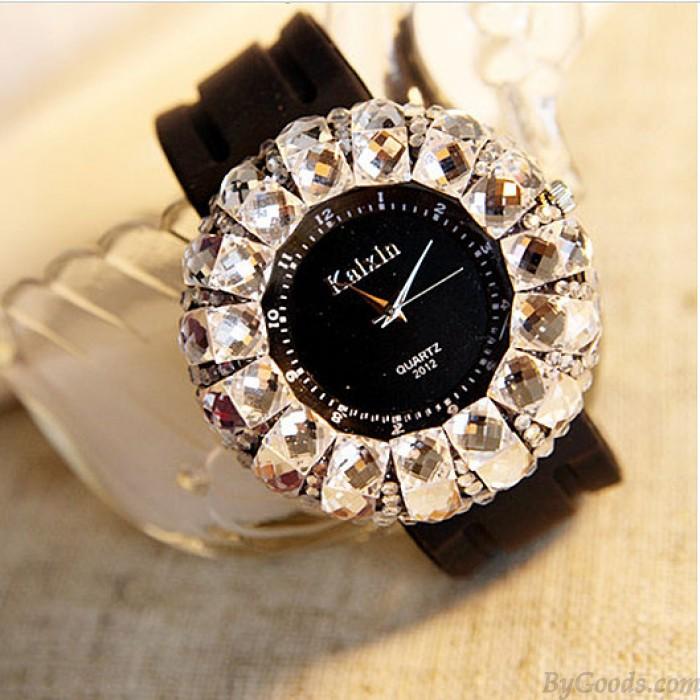 Fashion Rhinestone Trim Rubber Strap Quartz Watches