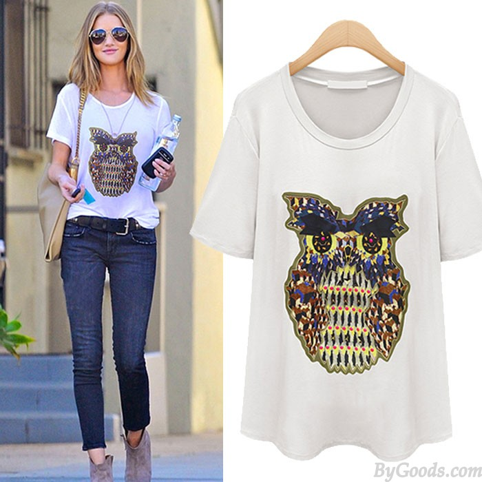 New Lovely Owl Printed Animals Loose T-shirt