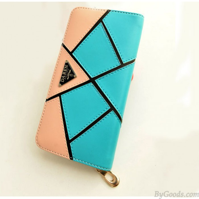 Fashion Geometry Contrast Color Wallet