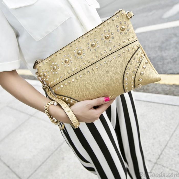Fashion Rivets Embossed Rhinestone Clutch Bag