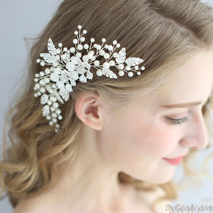 Sweet Pearl Exquisite Crystal Handmade Hair Comb Leaves Bride Flower Wedding Hair Accessories