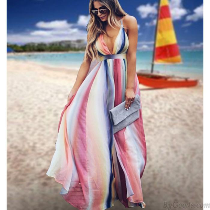 Fresh Multi-color Stripe Open-back Cross Suspender Bohemian Long Summer Dress