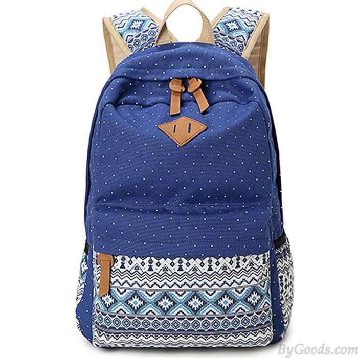 Folk Leisure Polka Dot Rucksack Bohemia Trunk College Canvas Backpack