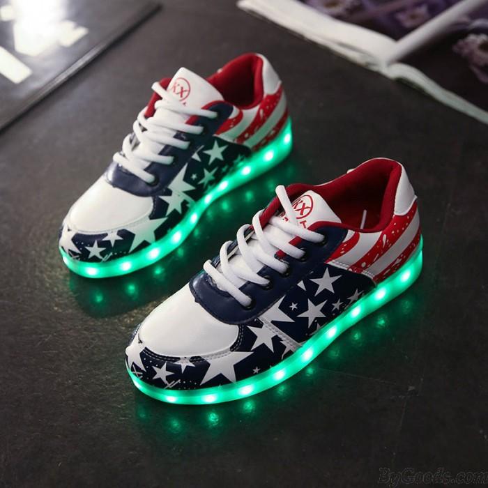 Star Print USB Colorful LED Luminous Couple Sports Shoes