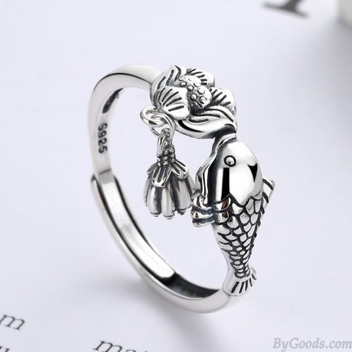 Retro Fish Kiss Lotus Tassel Pendant Adjustable Size Open Ring For Women Animal Rings