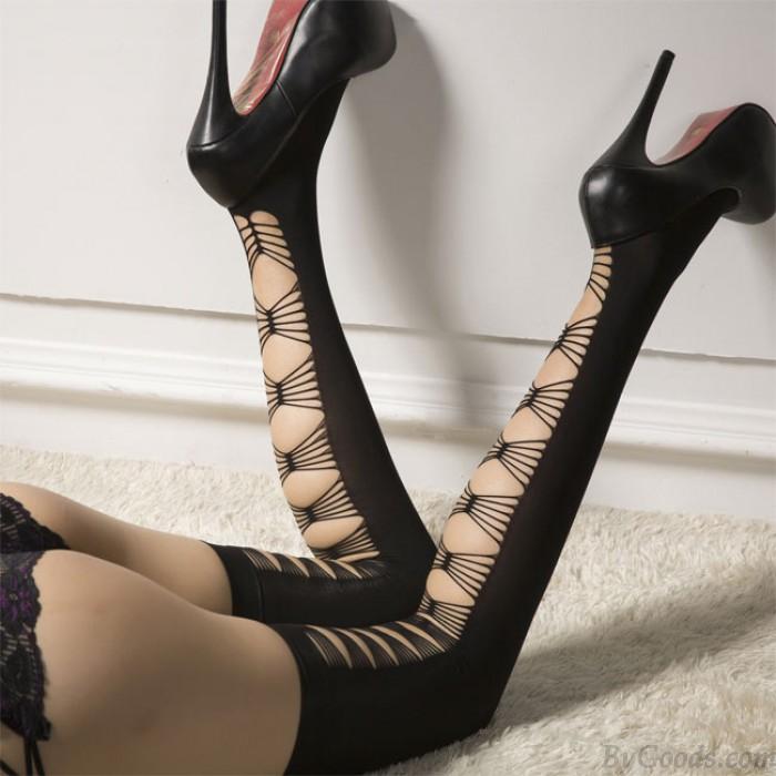 Sexy Nightclub Temptation Velvet High Socks Lingerie Black Cross Long Stockings