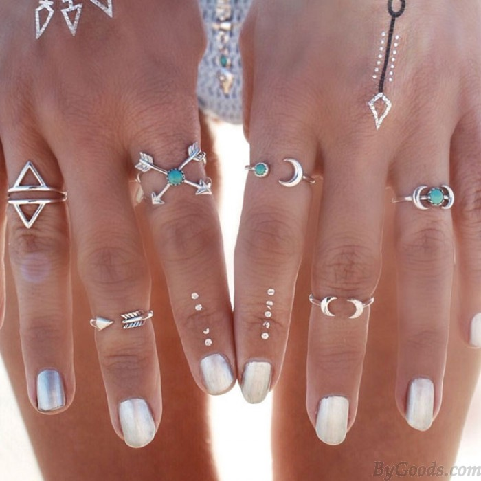 Fashion Silver Joint Knuckle Nail Midi Ring Personality Set of 6 Rings