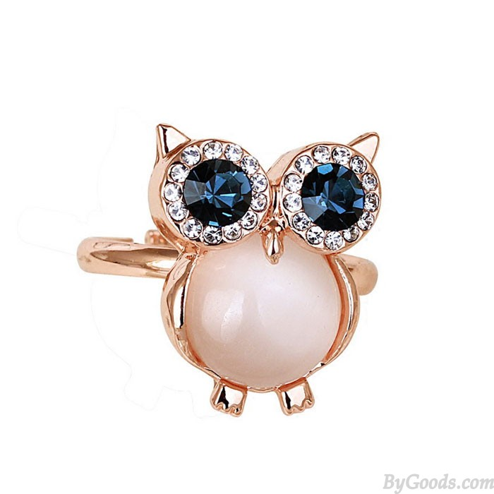 Cute Owl Opal Opening Animal Crystal Ring
