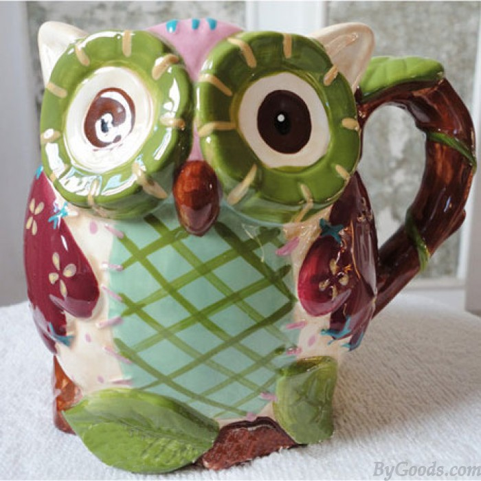 Hand-painted Cartoon Owl Reliefs Ceramics Cup