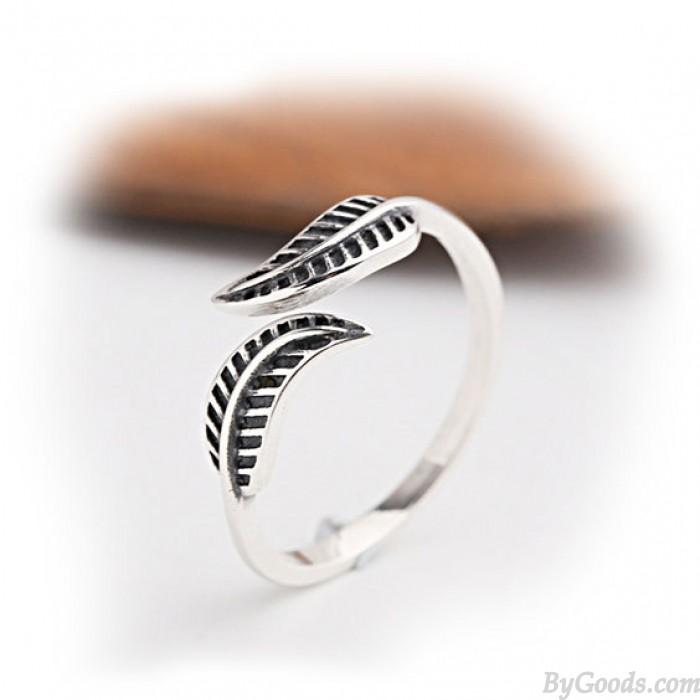 Vintage Leaf Adjustable Women's Leaves Silver Ring