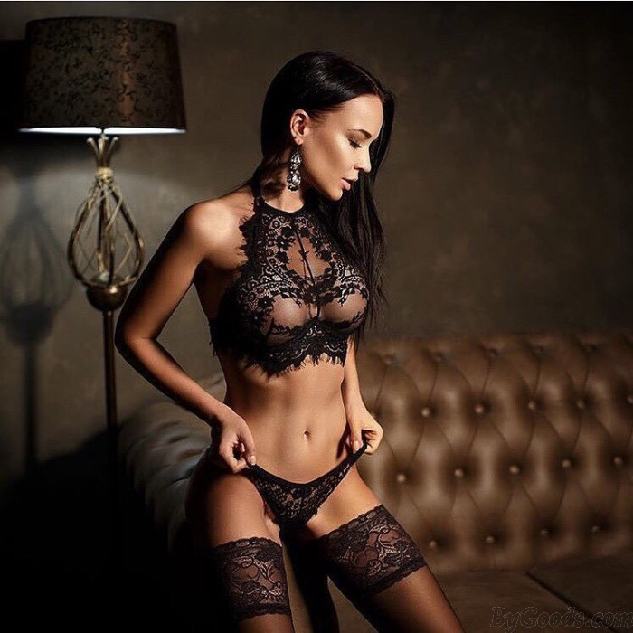 Sexy Halter Babydoll Women's Lace Lingerie See Through Lingerie