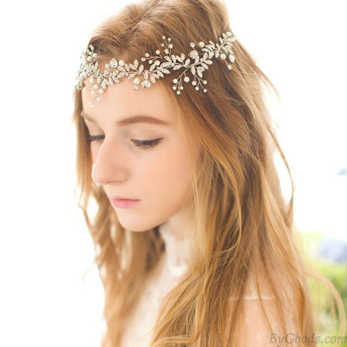 Sweet Pearl Bridesmaid Hairpin Wedding Flower Branch Leaves Crystal Bride Hair Band Hair Accessories