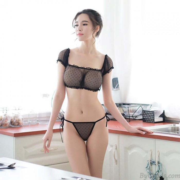 Sexy Transparent Bra Panty 2 Piece Set Underwear Black Lace Women Intimate Lingerie