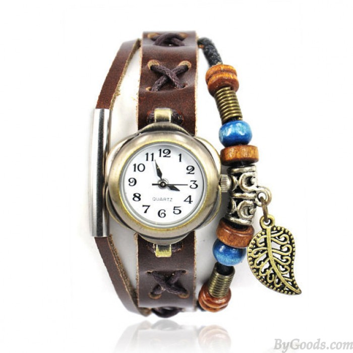 Handmade Leather Watch with Leaf Pendant