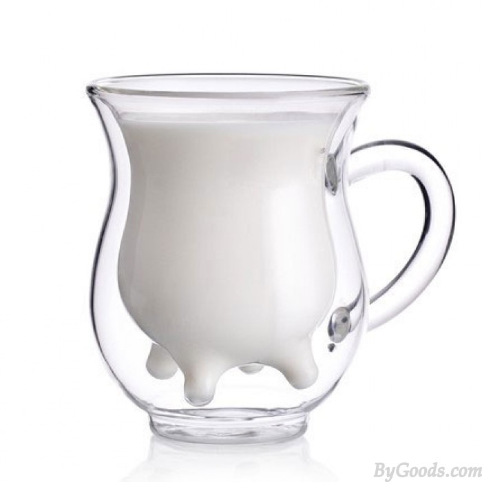 Creative Double Glass Microwavable Cow Cup