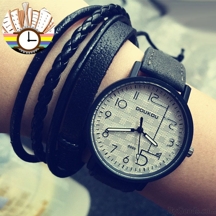 Retro Unique Personality Dial Leather Wrist watch
