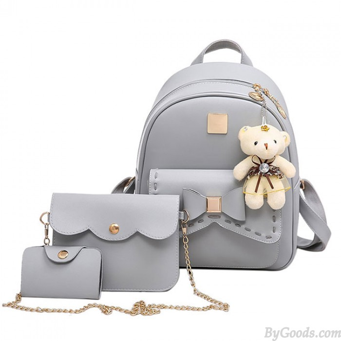 Cute Gray Pink Splicing Bowknot College Bag Bear Pendant PU Bow School Backpacks