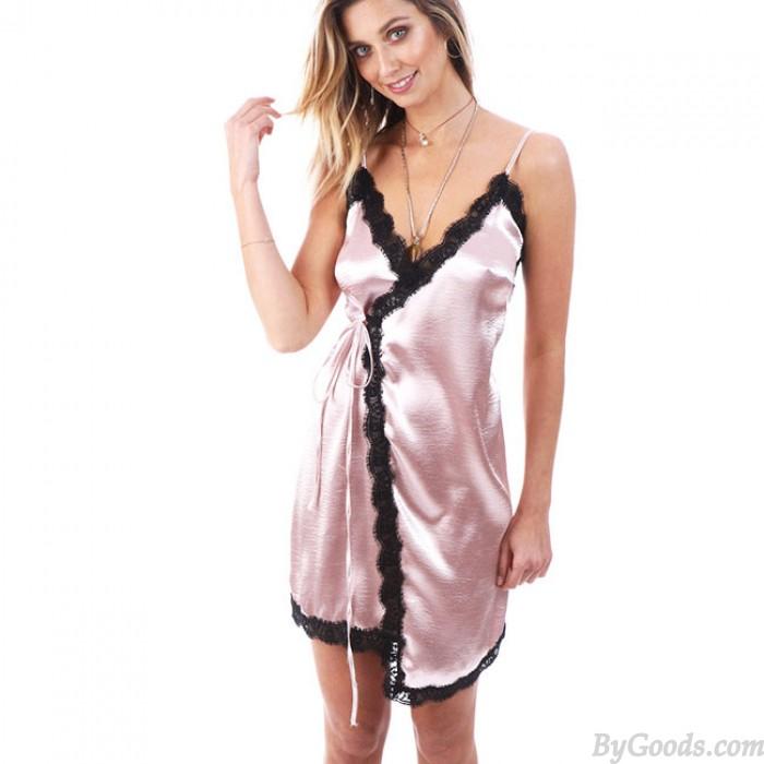 Sexy V-neck Condole Belt of Splicing Bud Black Lace Silk Dress Pajamas