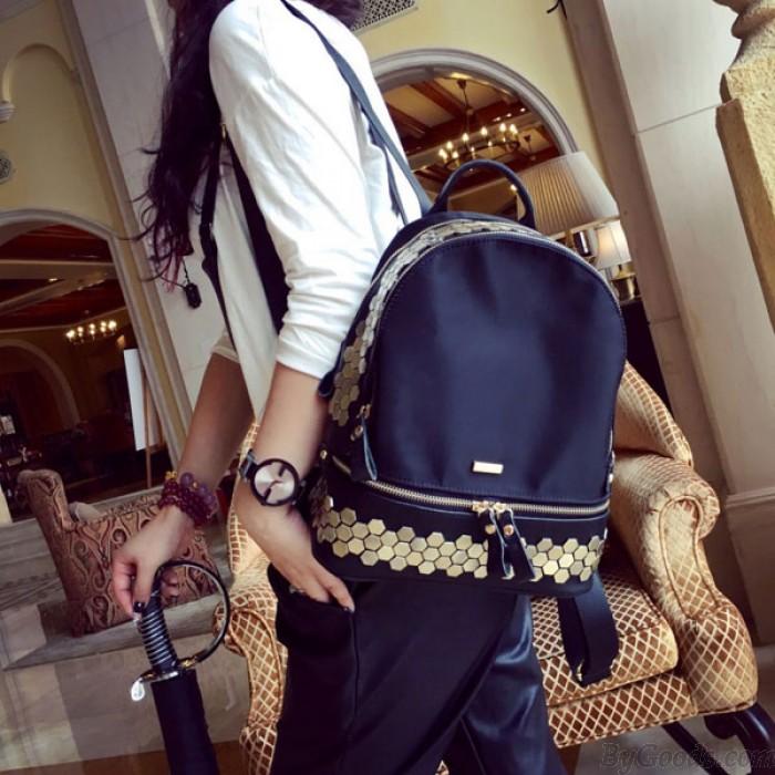 Elegant Rivet Backpack Waterproof Travel Bag School Bag