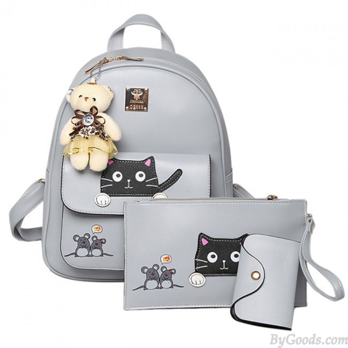 Cute Cartoon School Bag Gift Bear Doll Mouse Splicing Cat PU Kitty Backpack