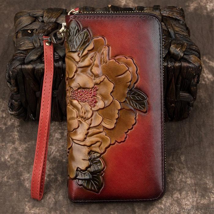 Retro 3D Embossed Flower Phone Purse Peony Clutch Bag Long Wallet