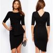 Unique Irregular Layers Black Dresses