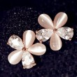 Opal Zircon Floral Stud Earrings/Ear Studs