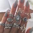 Retro Diamond Gemstone Feather Six-pointed Star Water Drop Crown Set Women Ring