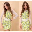 Fresh Cashew Nut Print Lace Sleeve Dress