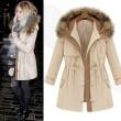 Warm Fur Collar Drawstring Thick Cotton Woolen Coat
