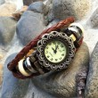 Fashion Flower Bead Leather Bracelet Watch