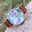 Cute World Map Retro Leather Watch