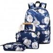 Unique Original Flower Ink Painting Three-piece Set Handbag Pen Bag Oxford School Backpack
