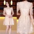 Fashion Organza Puff-Sleeve Lace Embroidery Dress