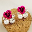 Romantic Rose Inlay Diamond Pearl Wedding Jewerly Earrings
