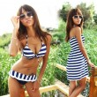 Three-piece Wire Striped Bikini/Swimsuit Cover