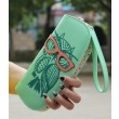 Woman Lady Girls Lovely Cute Owl Glasses Hit Color Printing Round Zipper Wallet Long Wallet Purse Clutch
