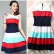 Silk Floss Colorful Strip Open-neck Dress