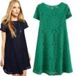 Loose Hollow Lace Short Sleeve Dress A-line Dress