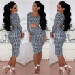 Fashion Houndstooth Two Piece Dresses Skirts